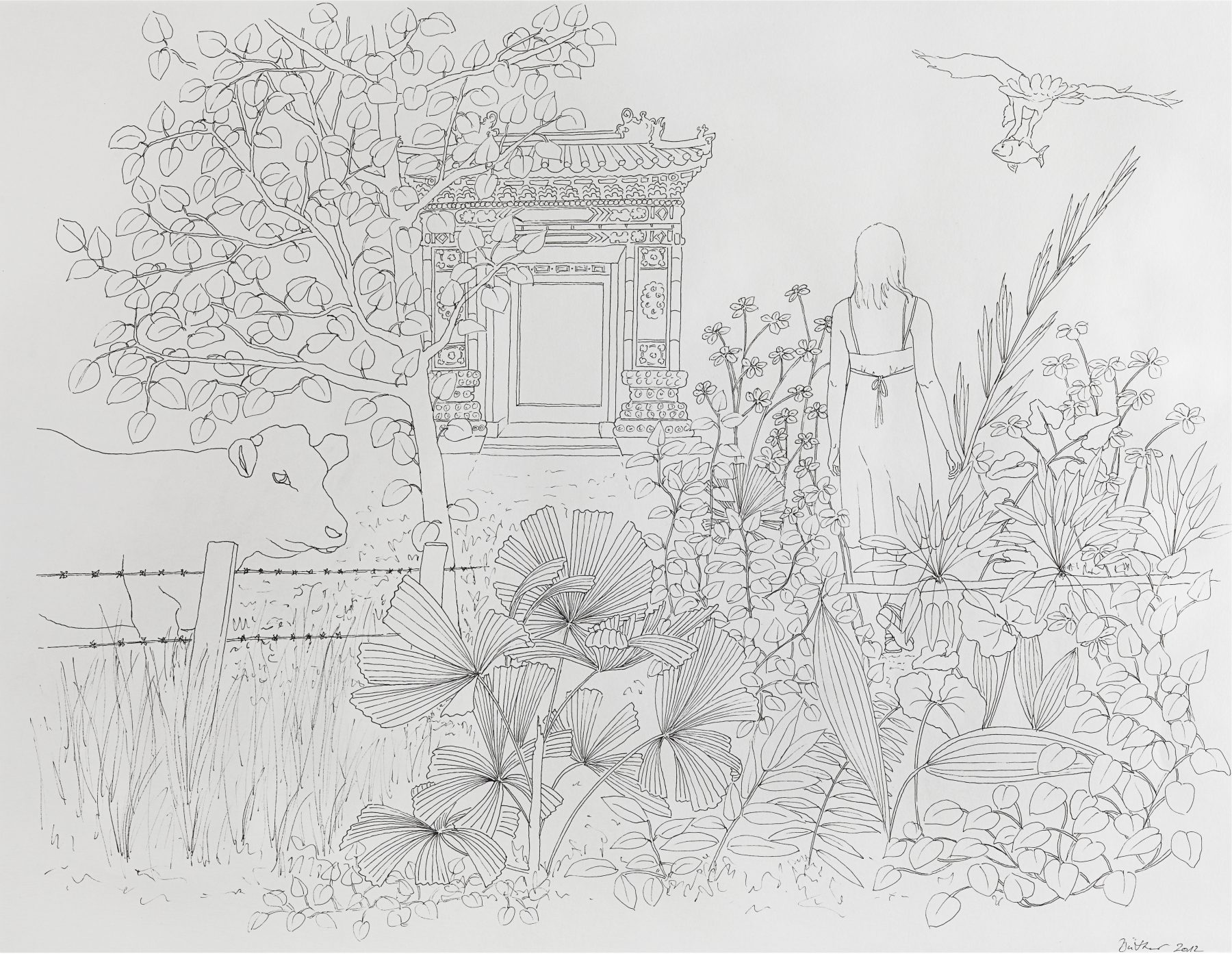 Drawing, Martina Büttner, Idyll, 2011