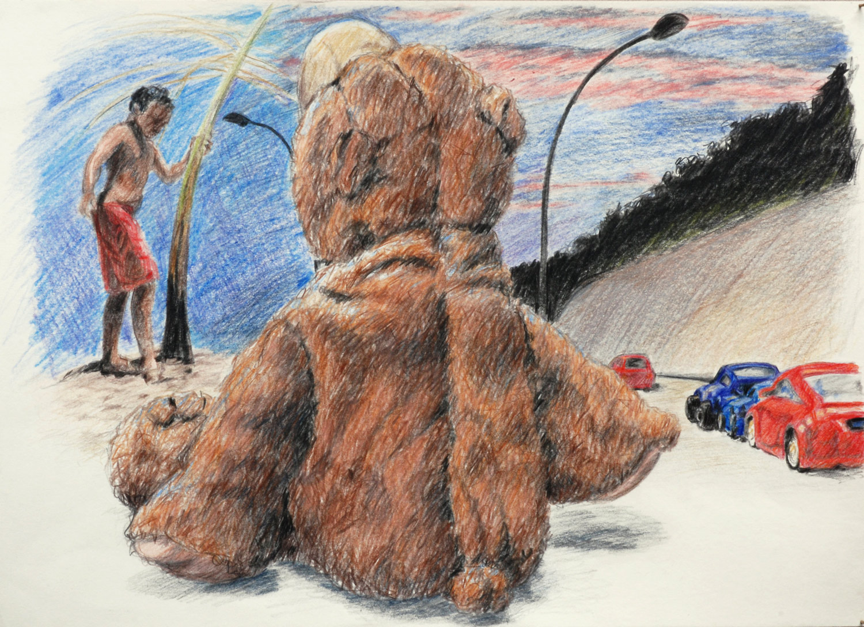 Martina Büttner drawing bear at dawn, 2009