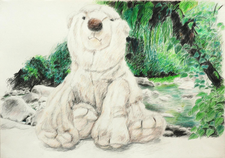 Martina Büttner drawing bear at riverside, 2009