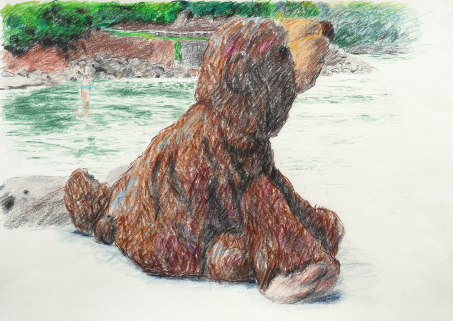 Martina Büttner drawing bear in front of the sea, 2009