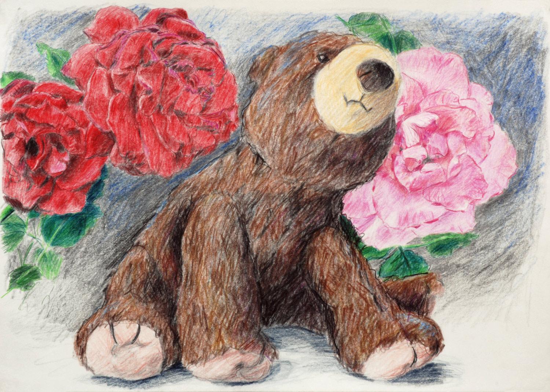 Martina Büttner drawing bear with roses, 2009