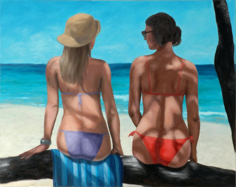Martina Büttner painting 2 beauties at the beach, 2007