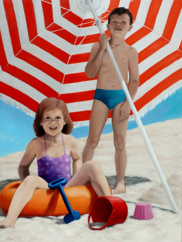 Martina Büttner painting beach umbrella, 2008