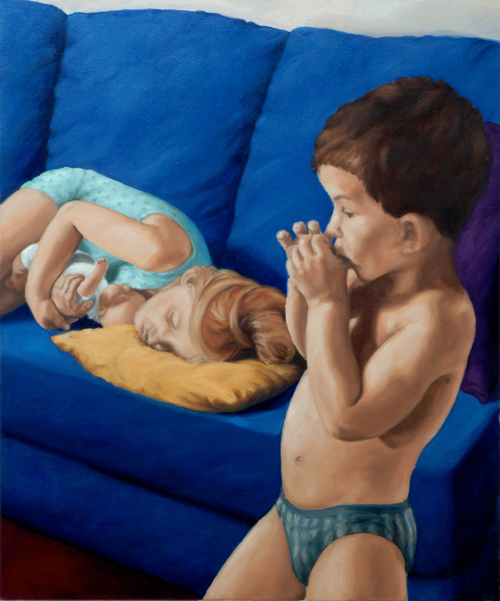 Martina Büttner painting blue couch, 2003