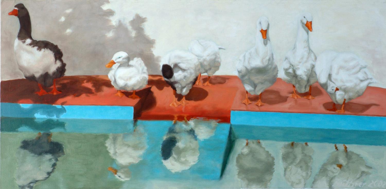 Martina Büttner painting gooses, 2002