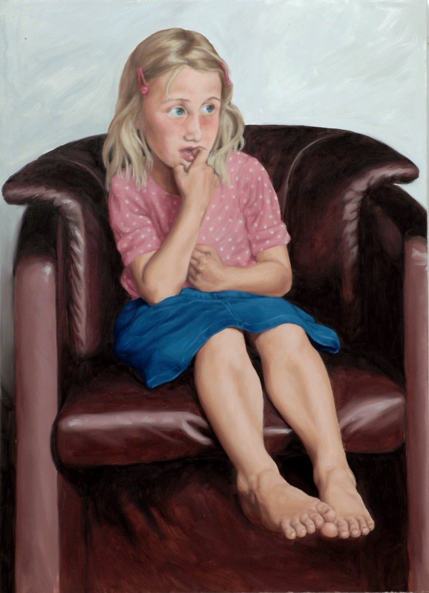 Martina Büttner painting portrait in pink shirt, 2007