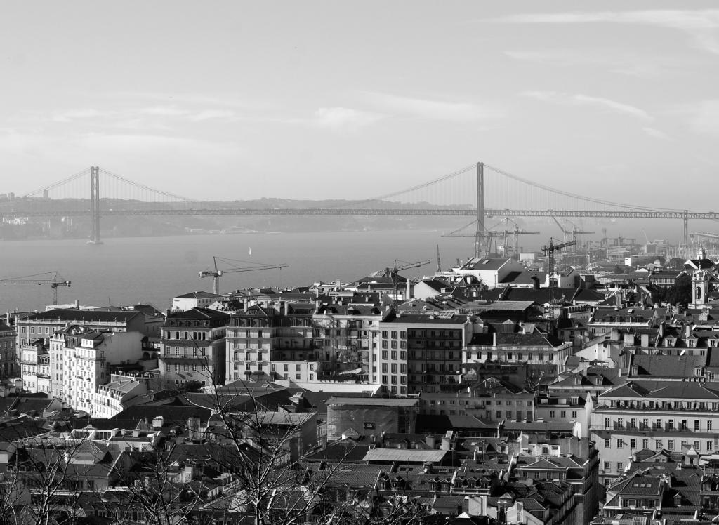 Lisbon view with Ponte de 25 Abril, 2019