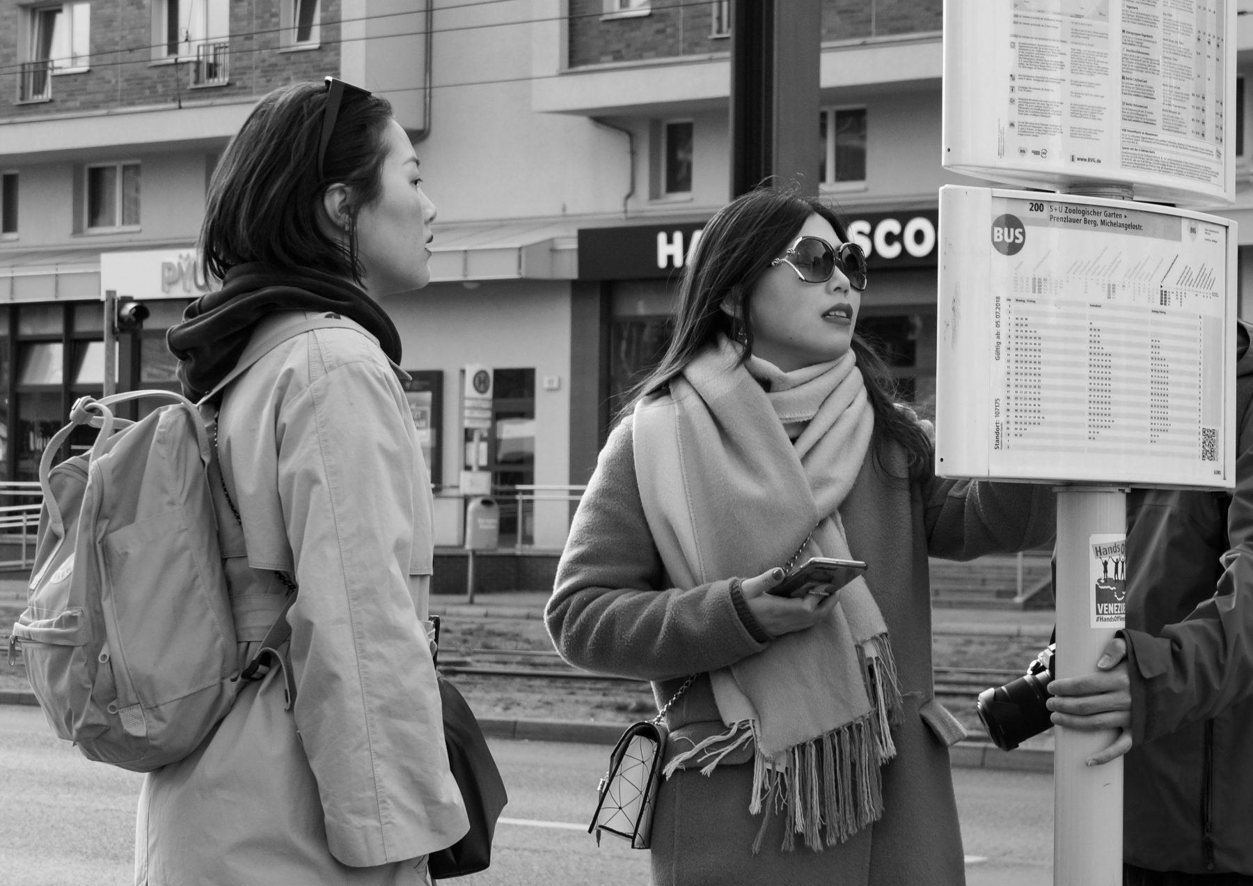 Bus stop, Berlin Alexanderplatz, March 2019